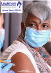 image of LSAB Annual Report 2020-21 front cover person having covid-19 innoculation