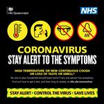 Image of Coronavirus stay alert to the symptoms UK Gov logo